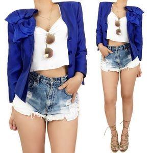 Armani blue silk bow blazer and skirt set